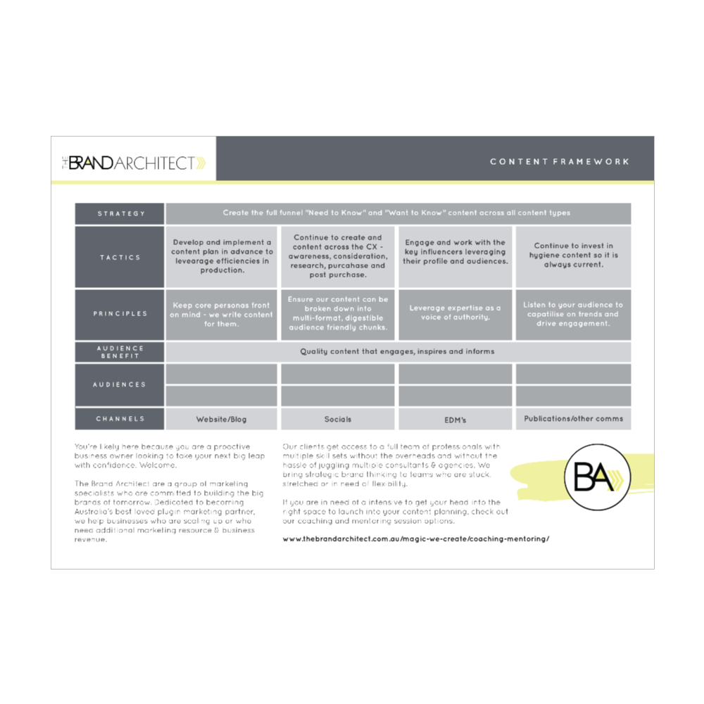 TBA Content Framework